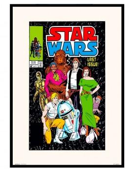 Lámina enmarcada edición especial comic .Licencia original STAR WARS.TODOS LOS PROTAGONISTAS JUNTOS EN LA PORTADA DE 1986.