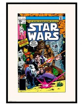 Lámina enmarcada licencia Star Wars , edición especial Comic. del año 1978.