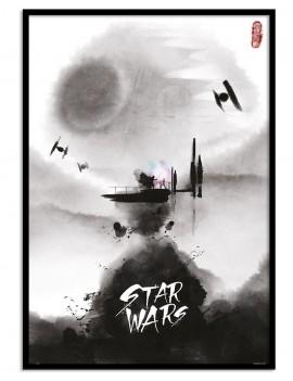 LAMINA ENMARCADA EFECTO ACUARELA B/N Star Wars LICENCIA . INSPIRADA EN EL UNIVERSO STAR WARS.