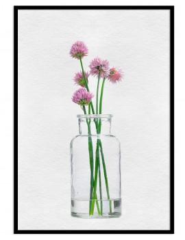 Cuadro botánica florero cristal