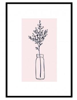 Cuadro botánica jarron flor