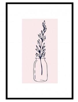Cuadro botánica jarrón flor