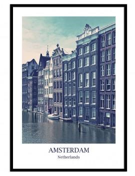 Cuadro de Amsterdam. precioso canal de la ciudad.