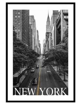 Cuadro  B&W de New York. Empire State building de fondo .
