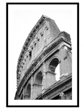 Lámina foto en Blanco y Negro de Coliseo Romano (ITALIA). muestra de la arquitectura del anfiteatro.
