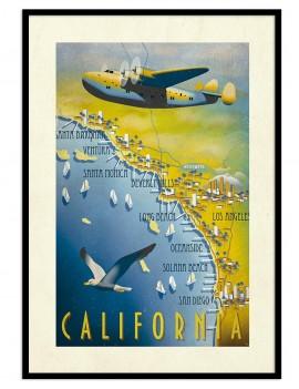 Cuadro vintage de la costa de California ambientada en los años 60.
