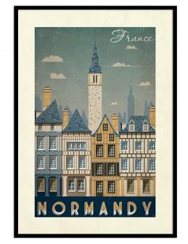 Lámina vintage de Normandía, y la catedral de fondo. preciosa región del norte de francia.
