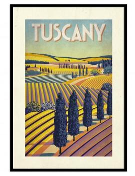 Cuadro vintage de laToscana(italia). Región conocida por sus viñedos y la ciudad de florencia.