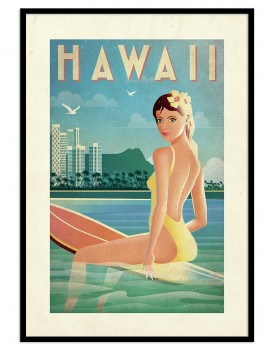 Lámina enmarcada de Hawai....