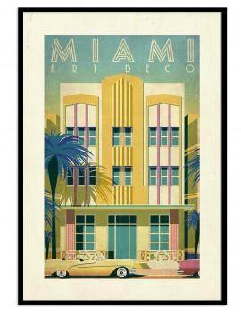 Cuadro retro Miami (Florida). Inspirado en la arquitectura local. Optimo para combinar . ideal diptico o triptico.
