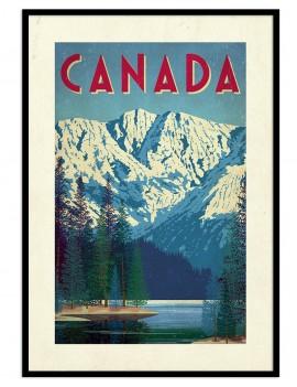 LAMINA ENMARCADA VINTAGE Canada MONTAÑAS NEVADAS. DECORATIVO , PARA UNA PARED UNICA Y SERENA.